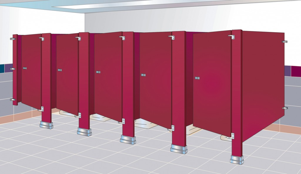 Floor braced toilet partitions restroom partitions for Commercial bathroom partition doors
