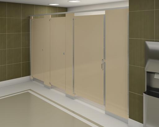 floor mounted overhead braced bathroom partitions