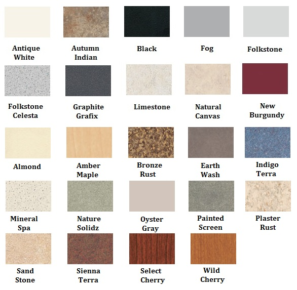 Bathroom Partitions Materials color charts and material selections