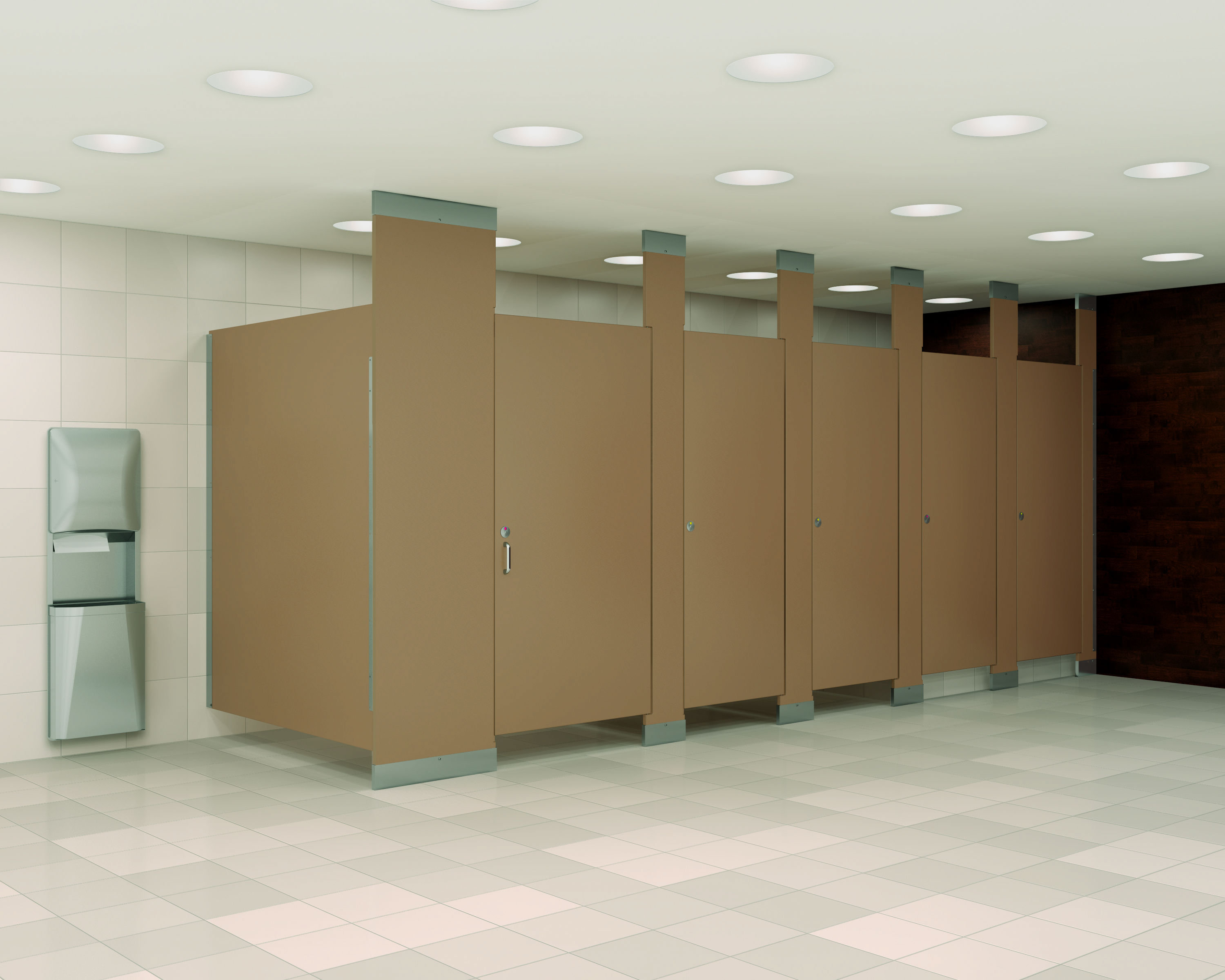 Solid Plastic Floor Mount Overhead Braced Partitions. Powder Room Privacy Stalls   Partitions Sales And Design