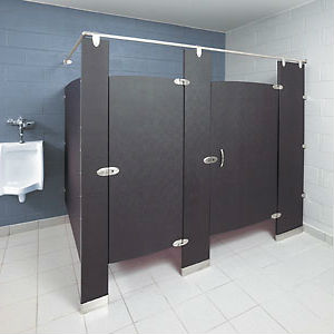 baked enamel floor mounted over head braced partitions - Commercial Bathroom Partitions