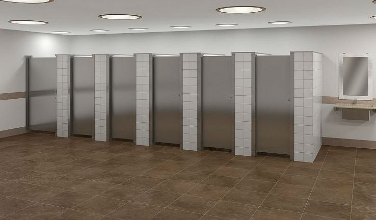 Toilet partition materials for construction projects for sale - Commercial bathroom partition doors ...